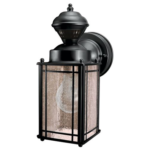 Heath Zenith SL-4135-BK Shaker Cove 1 Light 150 Degree Motion Activated 60 Watt Decorative Security Wall Sconce, Black with Seeded Glass