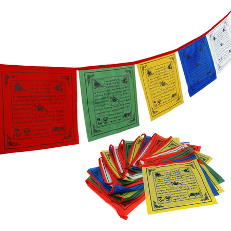 "ANLEY Tibet Buddhist Prayer Flag – Traditional Five Elements - Horizontal Wind Horse Design (10"" x 10"") - 25 flags & 23 feet for $<!---->"
