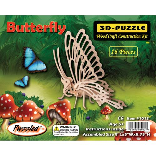 "3D Jigsaw Puzzle 16 Pieces 9""x5""x8.75""-Butterfly"