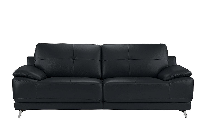 Modern Living Room Leather Sofa (Dark Blue)