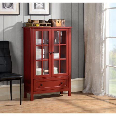Homestar 2 Door1 Drawer Glass Cabinet Walmart