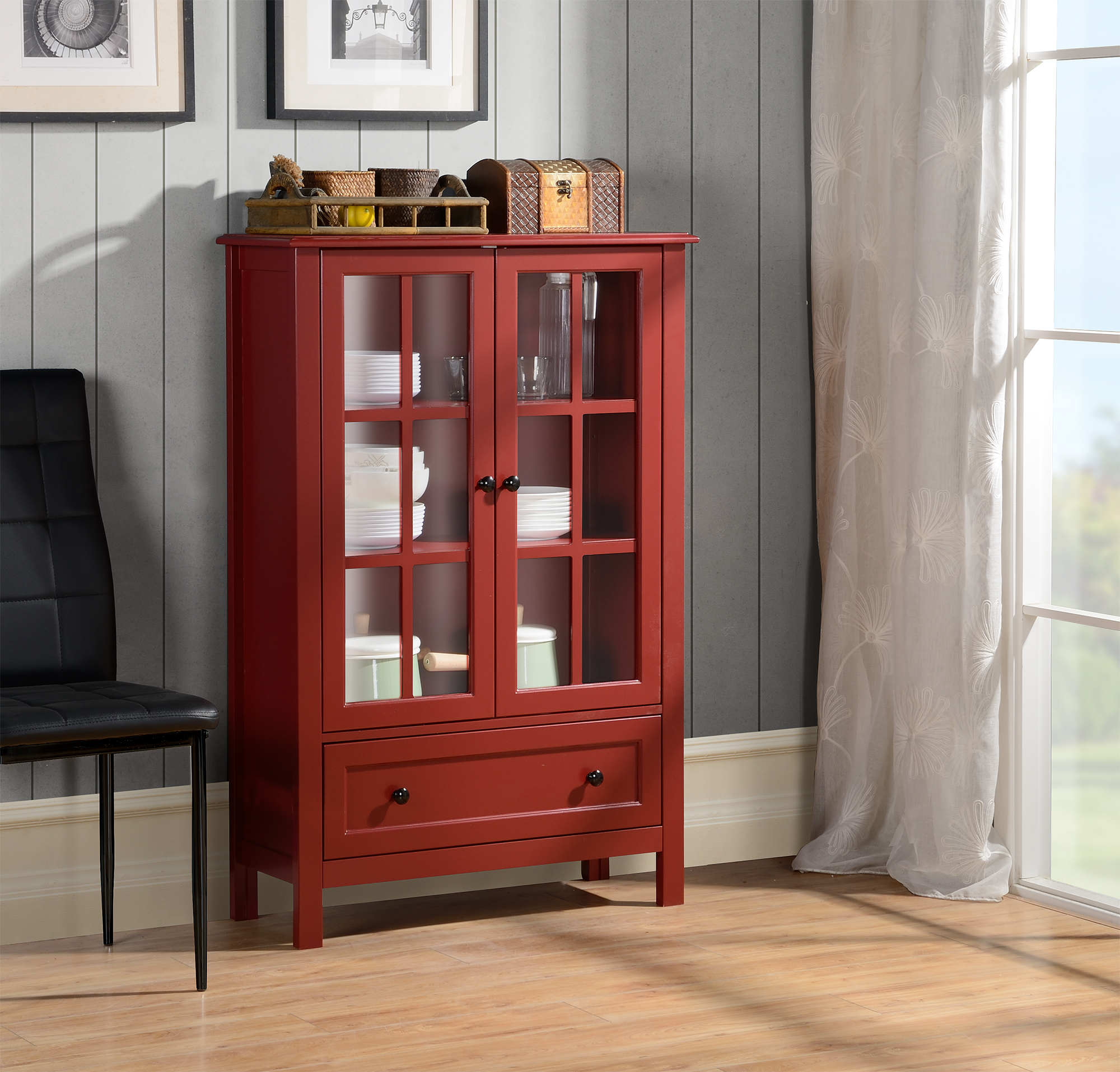 Homestar 2 Door/1 Drawer Glass Cabinet
