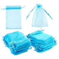 Organza Bags - 150-Count Blue Satin Drawstring Organza Bags, Mesh Favor Bags for Baby Showers, Wedding Gifts, Special Occasions, Party Favors - 3.75 x 5.75 to 4 x 6 Inches