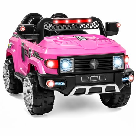 Best Choice Products 12V Mp3 Kids Ride On Truck Car R C Remote Control  Led Lights Aux And Music Pink