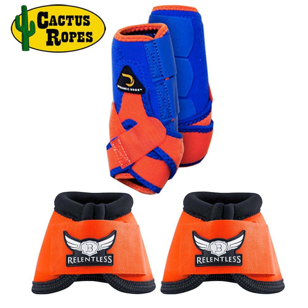 MEDIUM DYNAMIC EDGE 2 TONE 2520D HORSE FRONT LEG SPORTS BELL BOOTS PAIR ORANGE by CACTUS ROPES