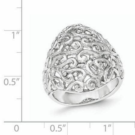 Sterling Silver Polished Filigree Ring Size 6 - image 1 de 3