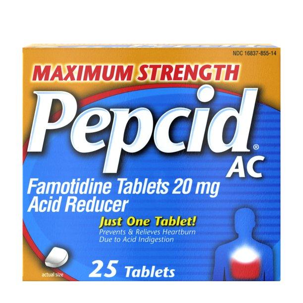 Maximum Strength Pepcid (famotidine) AC All-Day Heartburn Relief Medicine, 25 count