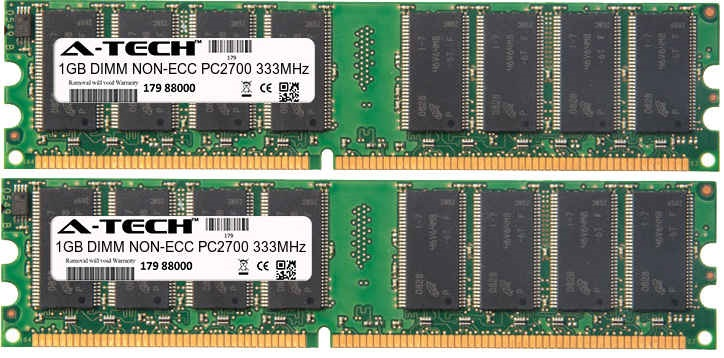 2GB Kit 2x 1GB Modules PC2700 333MHz NON-ECC DDR DIMM Desktop 184-pin Memory Ram