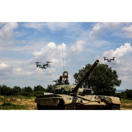 LAMINATED POSTER U.S. Marine Corps MV-22 Ospreys fly over a Bulgarian T-72 tank during Platinum Lion 16-3 aboard Novo Poster Print 24 x 36