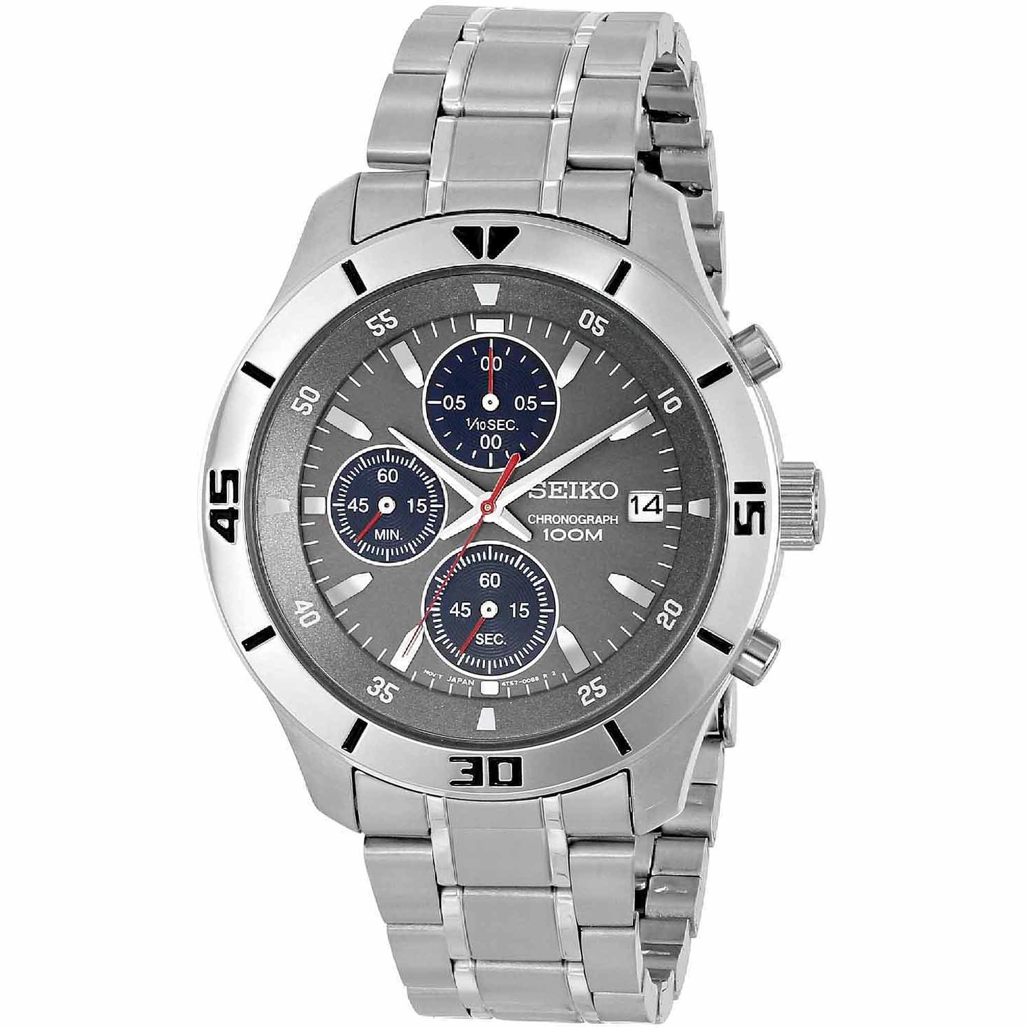 Seiko Stainless Steel Chronograph Watch with Grey Face and Blue Chronograph Subdials