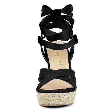 Allegra K Sandales compensées à lacets et espadrilles pour femmes Noir 40.5 EU - image 4 de 7