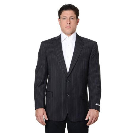 Austin Reed Mens Pure Wool Striped Suit Separate Coat Extra Long, Black Stripe Suit Separates