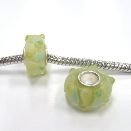 3 Beads - Green Yellow Bumpy Lampwork Glass Silver European Bead Charm E1002 (Yellow Lampwork Glass)