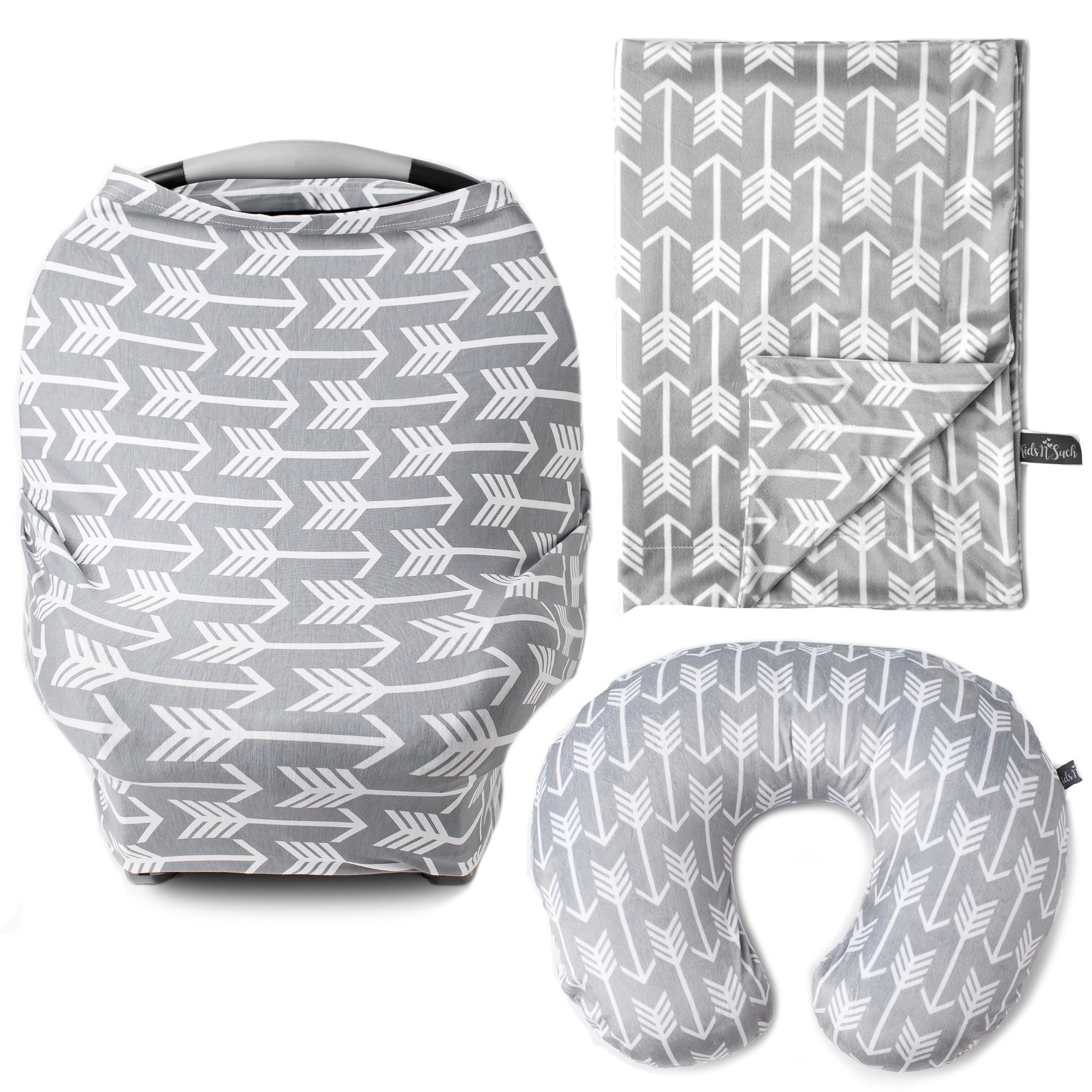 Kids N' Such 3-Pack Bundle of Arrow Multi Use Cover, Nursing Pillow Cover, and Baby Blanket