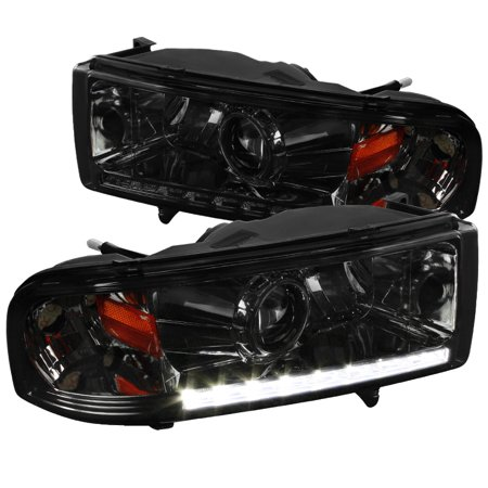 Spec-D Tuning For 1994-2001 Dodge Ram 1500 94-2002 Ram 2500/3500 Ram Smoke Led Projector Headlights 1994 1995 1996 1997 1998 1999 2000 2001 2002 (Left +