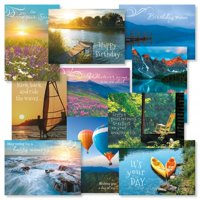 """Scenics Birthday Greeting Card Value Pack - Set of 20 (2 of each design) 5"""" x 7"""" cards come with white envelopes"""
