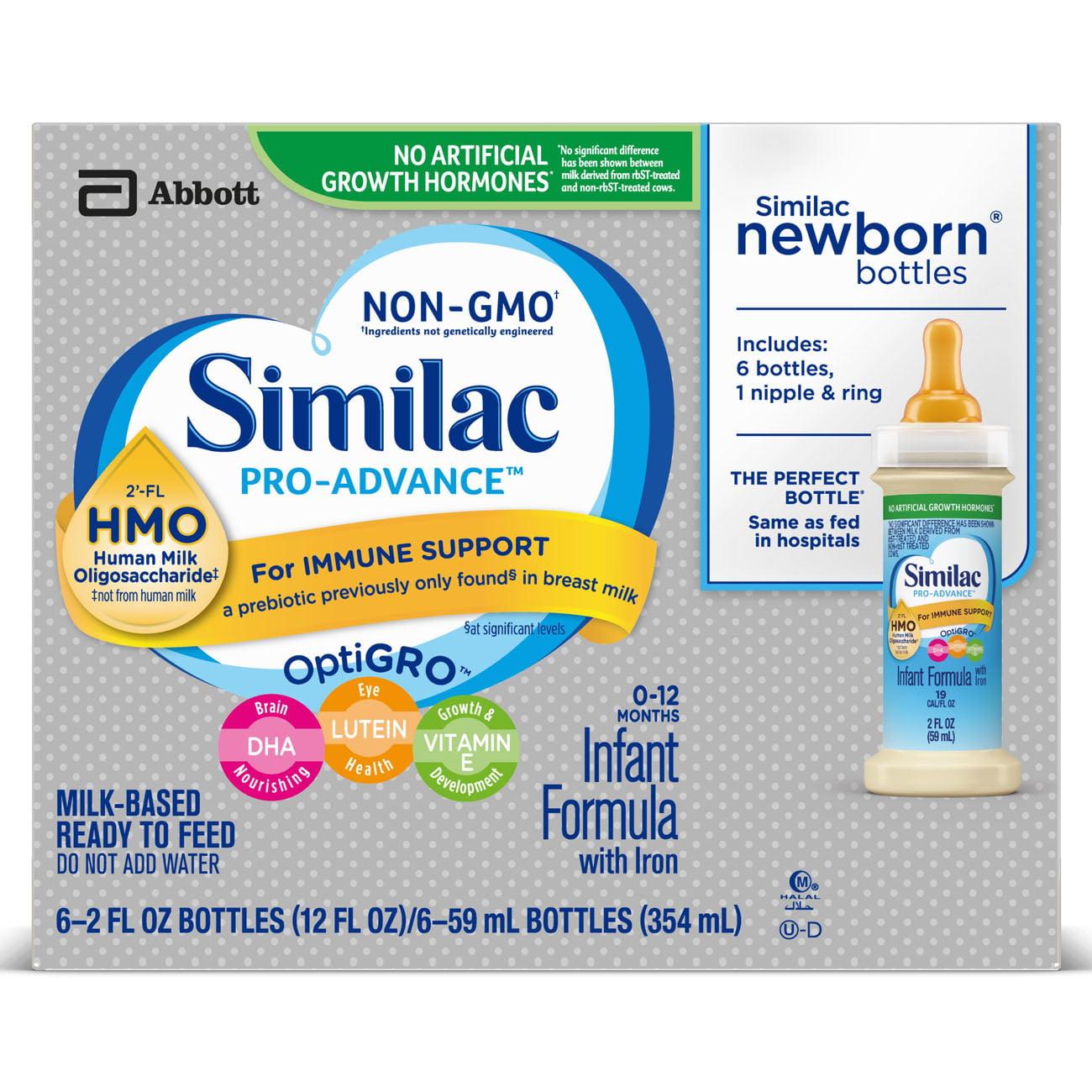 Similac Pro-Advance Non-GMO with 2'-FL HMO Infant Formula with Iron Baby Formula 2 oz Bottle (Pack of 48)