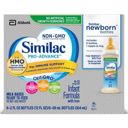 - Similac Pro-Advance Non-GMO with 2'-FL HMO Infant Formula with Iron Baby Formula 2 oz Bottle (Pack of 6)