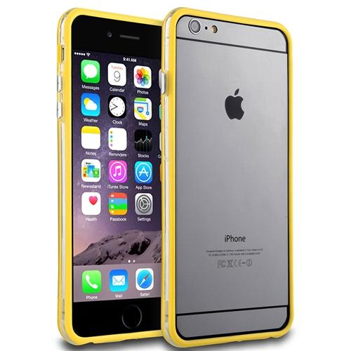 Insten Clear/Yellow TPU Bumper Skin Case With Aluminum Button Cover For iPhone 6S Plus / 6 Plus 5.5""
