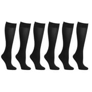 6-Pack Black Women Trouser Socks with Comfort Band Stretchy Spandex Opaque Knee High