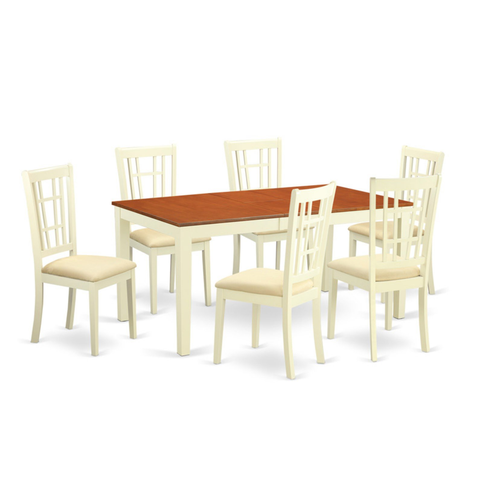 East West Furniture Nicoli 7 Piece Windowpane Dining Table Set