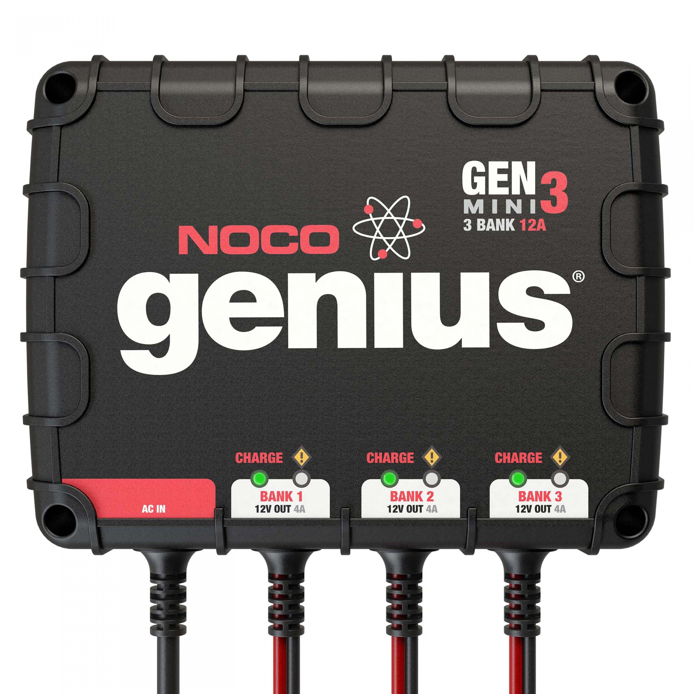 NOCO Genius GENM3 3-Bank 12 Amp UltraSafe On-Board Battery Charger