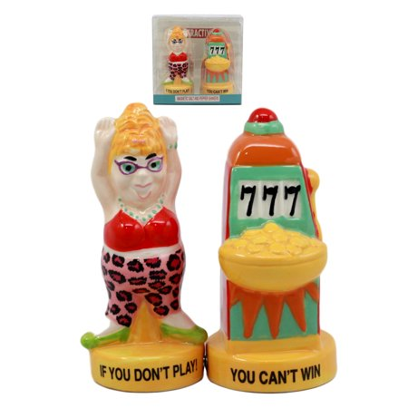 "Ebros Casino Jackpot Lucky Winner Lady With Slot Machine Salt & Pepper Shakers Ceramic Magnetic Figurine Set 4 1/8""H"