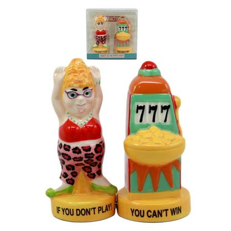 - Ebros Casino Jackpot Lucky Winner Lady With Slot Machine Salt & Pepper Shakers Ceramic Magnetic Figurine Set 4 1/8