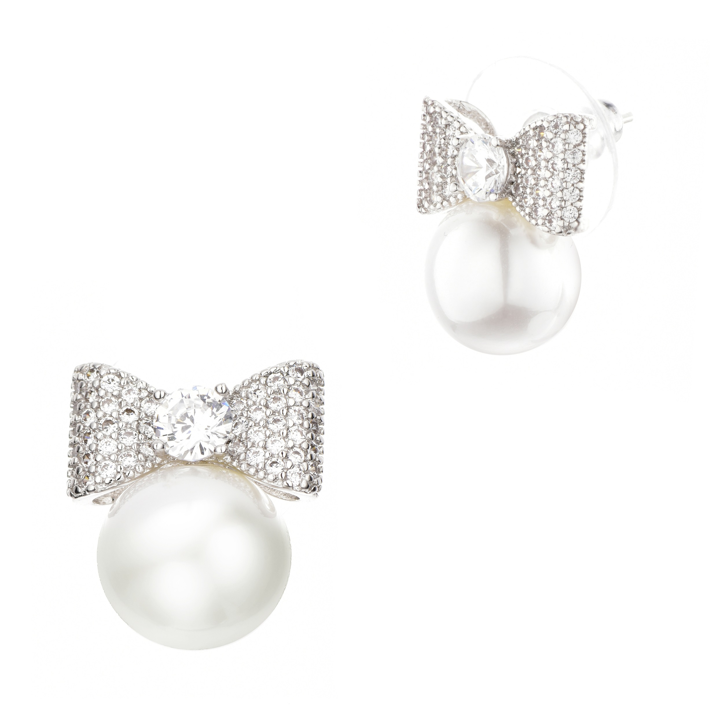 Less Fashion S Bow Pearl Stud