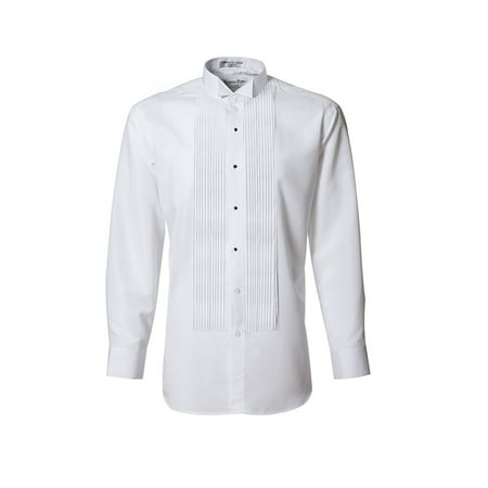 White Wing Tip Collar Pleated Tuxedo Shirt for Mens and Boys