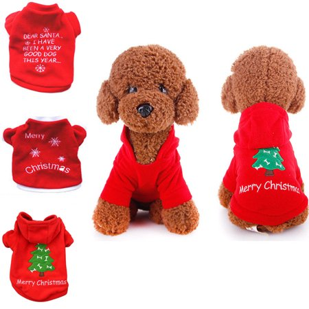 Spencer Pet Dog Christmas Pompon Hoodie Outfit Jacket Cat Puppy Clothes Winter Sweater Costume for Small Medium Dogs - Cat Costume For A Dog