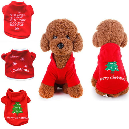 Spencer Pet Dog Christmas Pompon Hoodie Outfit Jacket Cat Puppy Clothes Winter Sweater Costume for Small Medium Dogs - Cats Outfit
