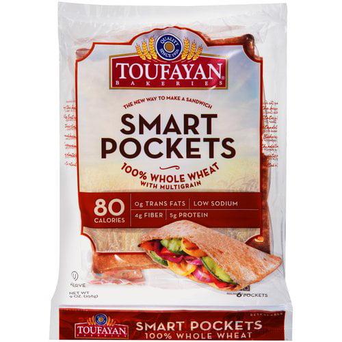 Toufayan Bakeries Smart Pockets Pita Bread, 6 count, 9 oz