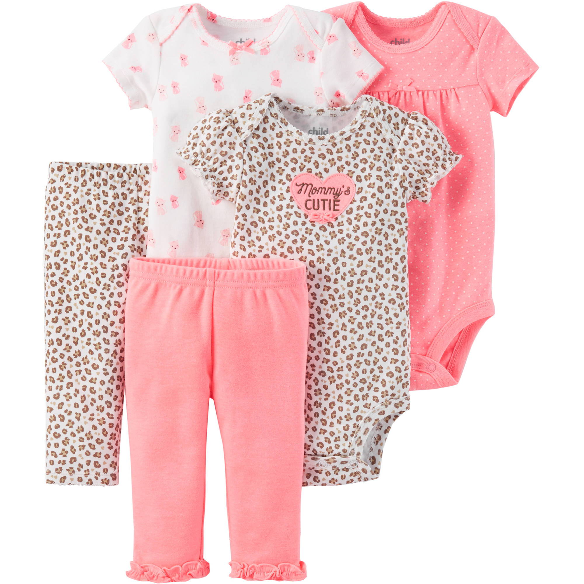 Child of Mine by Carter's Newborn Baby Girl Bodysuit and Pantset Outfit Set, 5 Piece