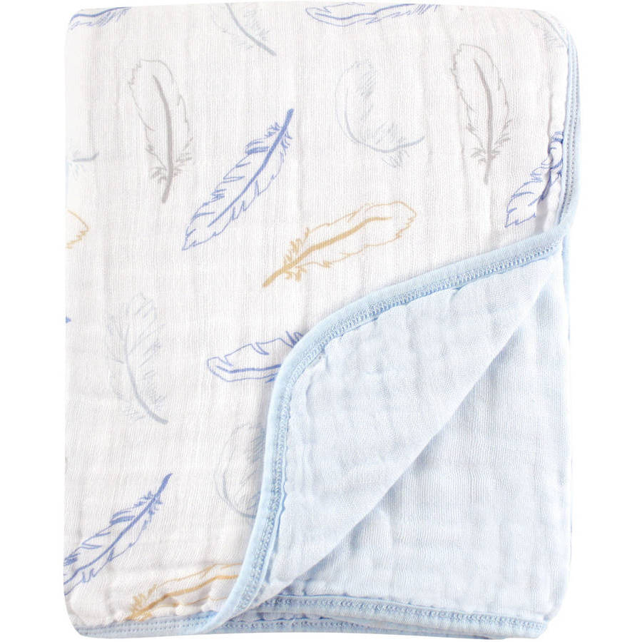 Hudson Baby Muslin Blanket, 4 Layer, Blue