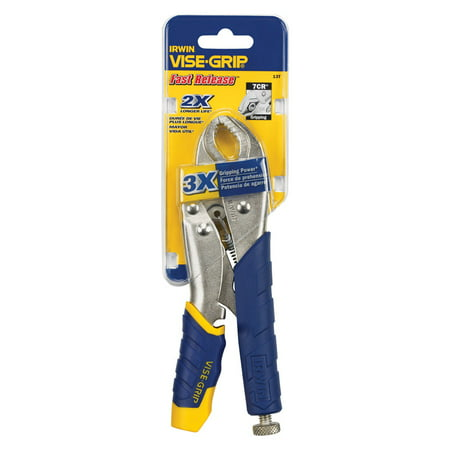 Irwin Vise-Grip 7 in. Alloy Steel Fast Release Curved Jaw Curved Jaw Locking Pliers Blue 1 pk Curved Jaw Soft Grip