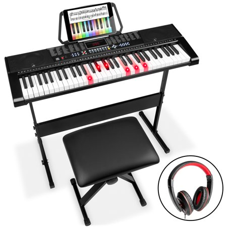 Best Choice Products 61-Key Electronic Keyboard w/ Light-Up Keys, 3 Teaching Modes, H-Stand, Stool, Headphones - Black Beethoven Keyboard Piano