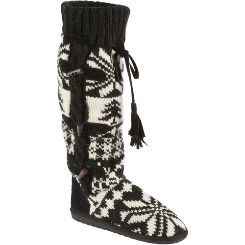 MUK LUKS Women's Mishka Tall Knit Boots with Side Button Detail