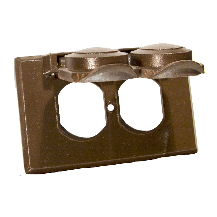 Morris Products One Gang Weatherproof Covers in Bronze for Horizontal Duplex Receptacle (Set of 3)