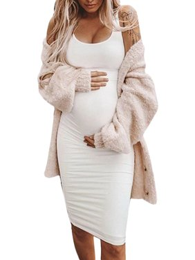Jchiup Women Maternity Summer Sleeveless Solid Color Bodycon Tank Dress