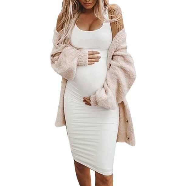 Jchiup Jchiup Women Maternity Summer Sleeveless Solid Color Bodycon Tank Dress Walmart Com Walmart Com