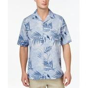 Tasso Elba NEW Blue Mens Size Large L Short Sleeve Hawaiian Silk Shirt $65