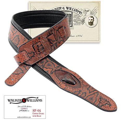 Walker & Williams SF-01 Copperhead Snakeskin Pattern Padded Guitar Strap with Snakehead