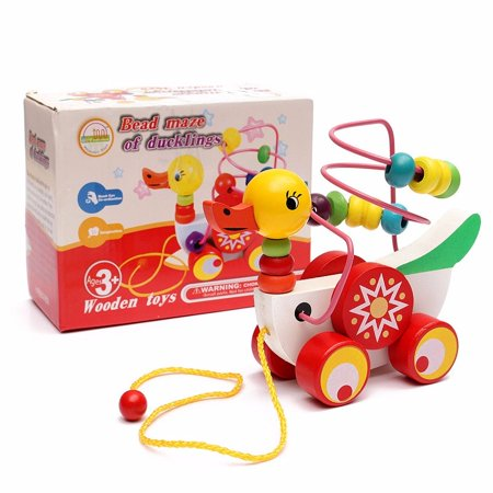 Meigar Wooden Duck Trailer Around Beads Educational Game Toys for Boy Girl ,Birthday Gift Toy for Age 3 4 5 Years Old and Up Kid Children Baby - 8 Year Old Games For Boys