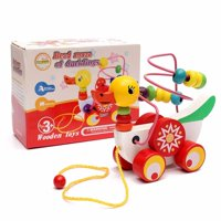 Meigar Wooden Duck Trailer Around Beads Educational Game Toys for Boy Girl ,Birthday Gift Toy for Age 3 4 5 Years Old and Up Kid Children Baby Toddler