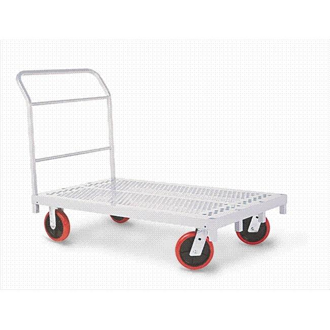 Raymond Products 3958 Heavy Duty Platform Truck - 8'' Quiet Poly Casters  All Swivel  1 Push Handle