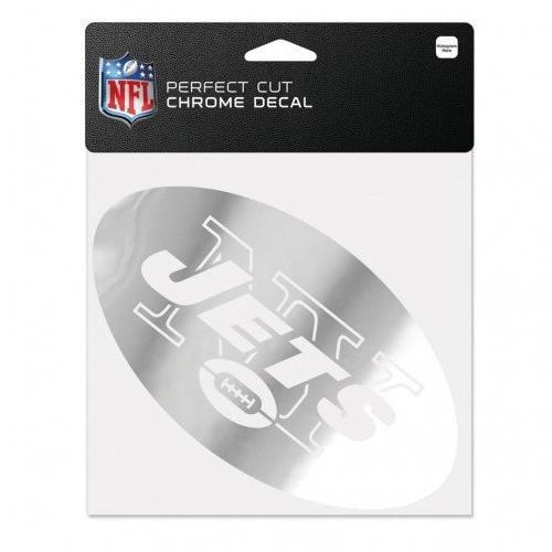 "New York Jets 6""x6"" Silver Chrome Auto Decal Sticker"