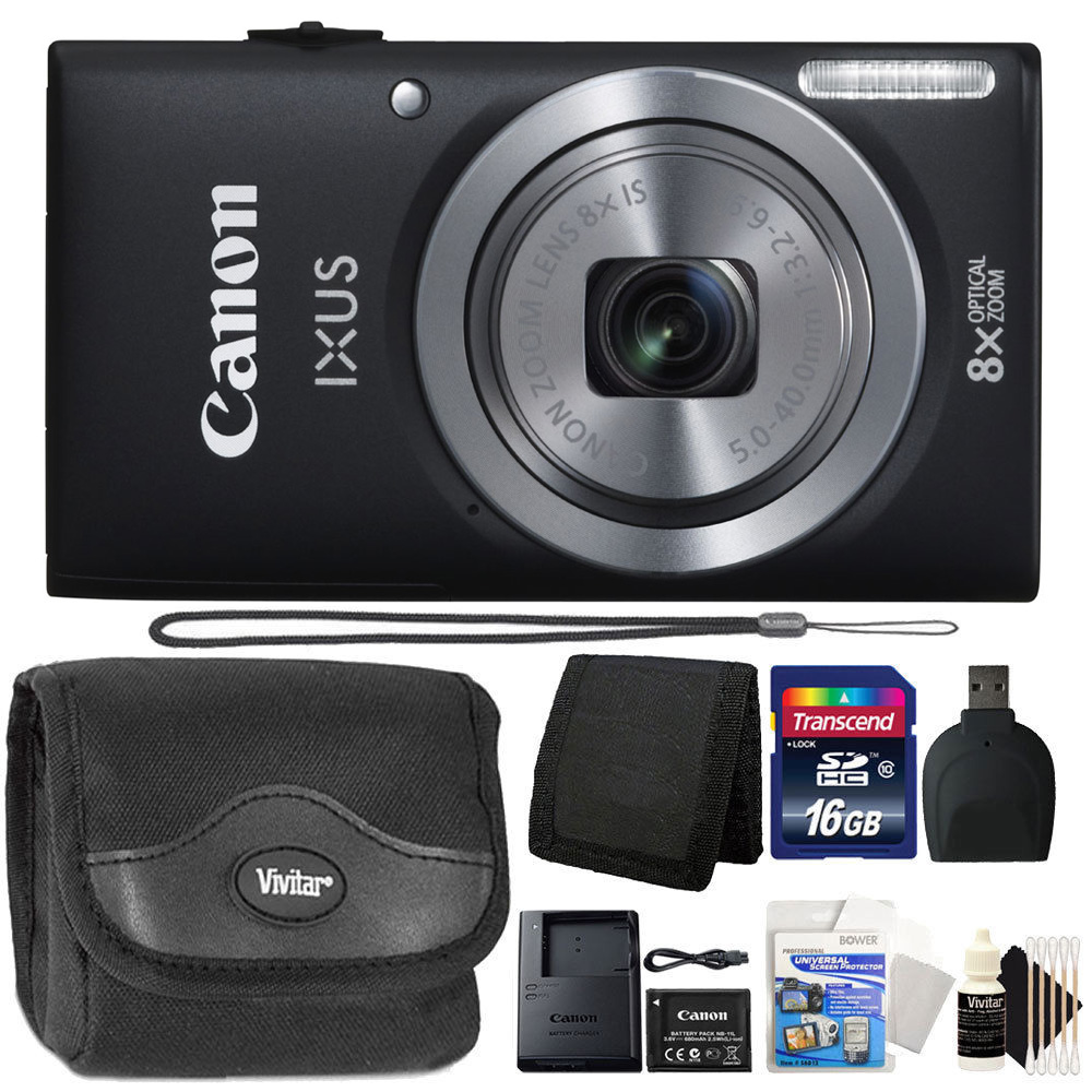 Canon IXUS 185 / ELPH 180 20MP 16x ZoomPlus Black Digital Camera with Top Accessory Kit
