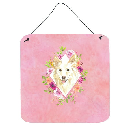 White Collie Pink Flowers Wall or Door Hanging Prints