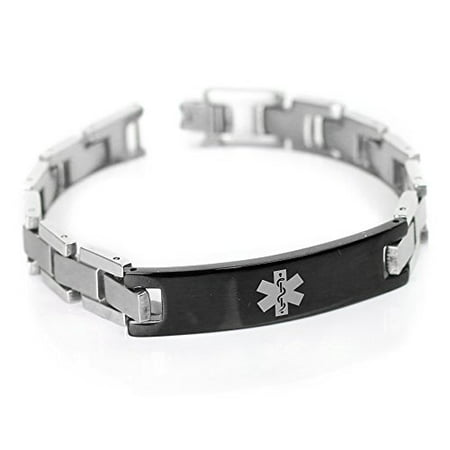 Medical Medical Id Bracelet - MyIDDr - Men's Engraved Diabetes Type 2 Medical Medical Bracelet, Stainless Steel, Black ID